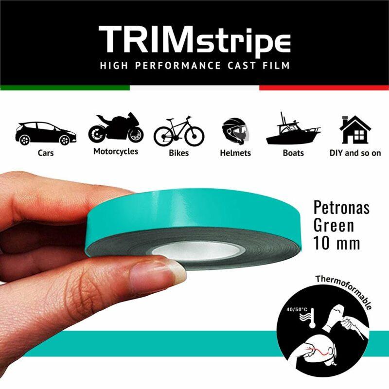 Trim Stripe Strisce Adesive per Auto, Verde Petronas 10 mm