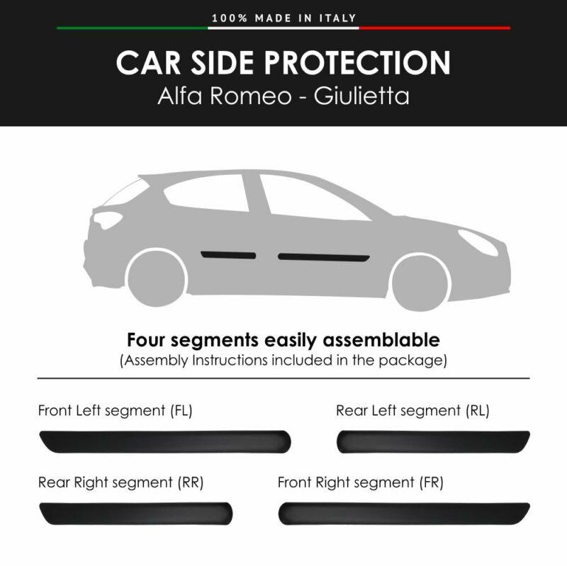 Modanature Laterali per Alfa Romeo Giulietta con Biadesivo 3M