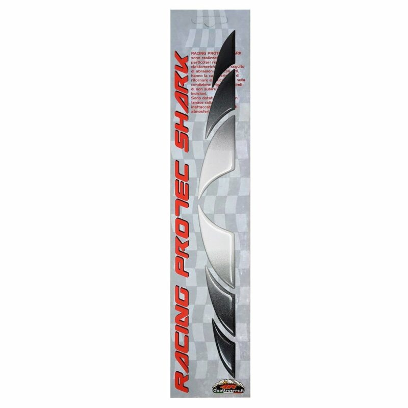 Adesivi 3D Racing Protec Shark argento nera metallizzata