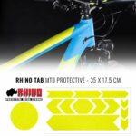 Kit Adesivo Protezione Telaio Bicicletta MTB Rhino, Giallo Fluo 35 x 17,5 cm