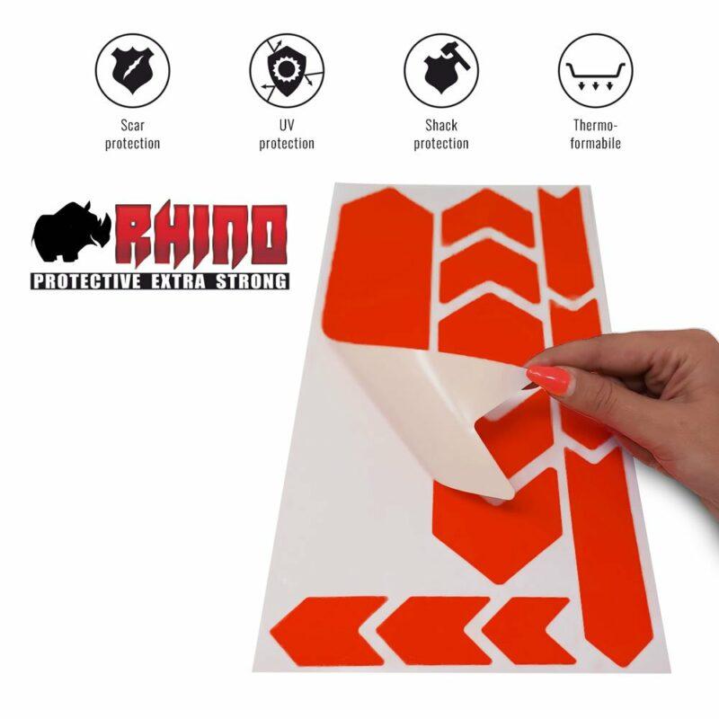 Kit Adesivo Protezione Telaio Bicicletta MTB Rhino, Rosso Fluo 35 x 17,5 cm