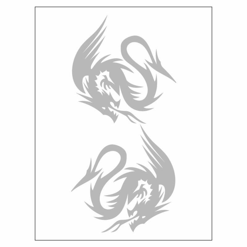 Adesivi Stickers Drago 10 x 12 cm argento