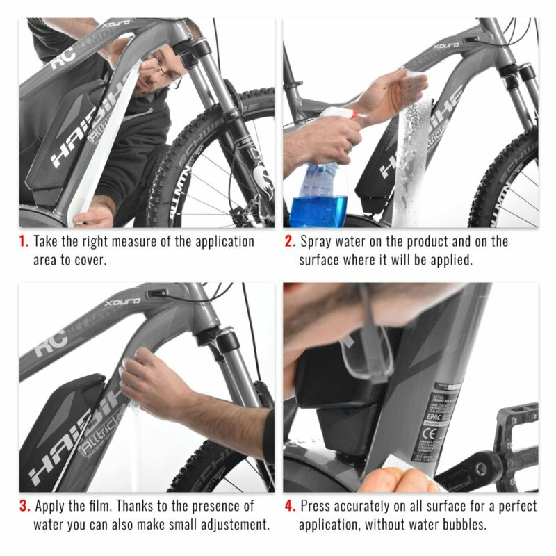 pellicola protettiva telaio bici passaggi di applicazione
