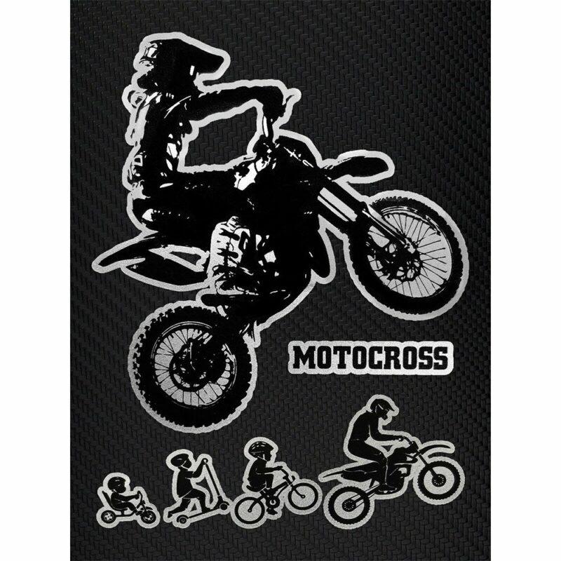 Adesivi Stickers Evolution Biker Cross 10 x 12 cm su sfondo nero
