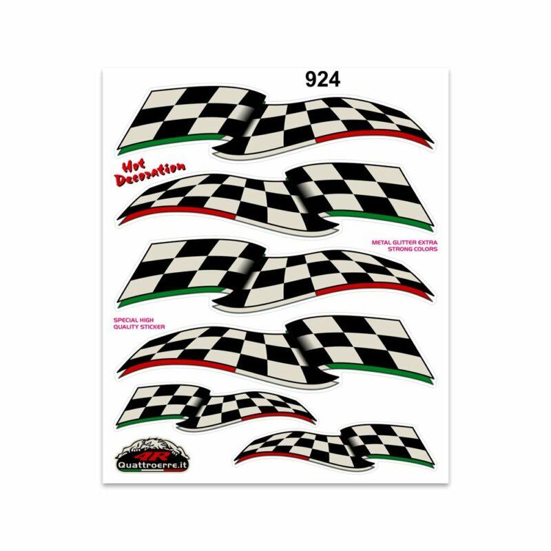 Adesivi Stickers Giganti Bandiera Scacchi 24 x 20 cm