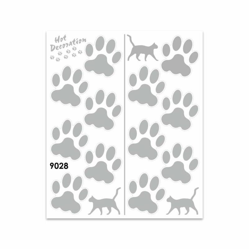 Adesivi Stickers Giganti Orme Gatto 24 x 20 cm argento