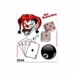 Adesivi Stickers Medi Joker Carte Palla 8 Dadi 13,5 x 16 cm