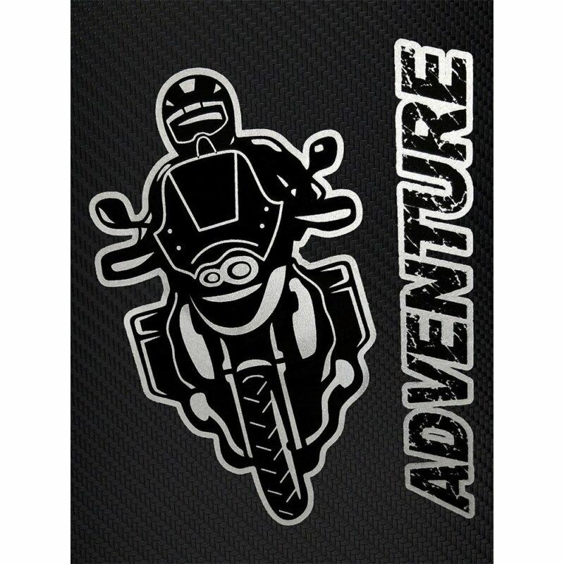 Adesivi Stickers Moto Adventure 10 x 12 cm su sfondo nero