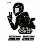 Adesivi Stickers Respect For Biker 10 x 12 cm