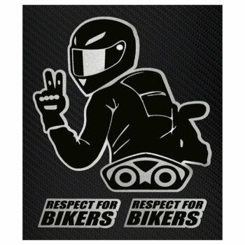 Adesivi Stickers Respect For Biker 10 x 12 cm su sfondo nero
