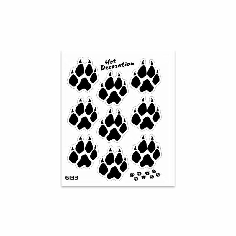 Adesivi Stickers Standard Zampe Lupo 10 x 12 cm nero