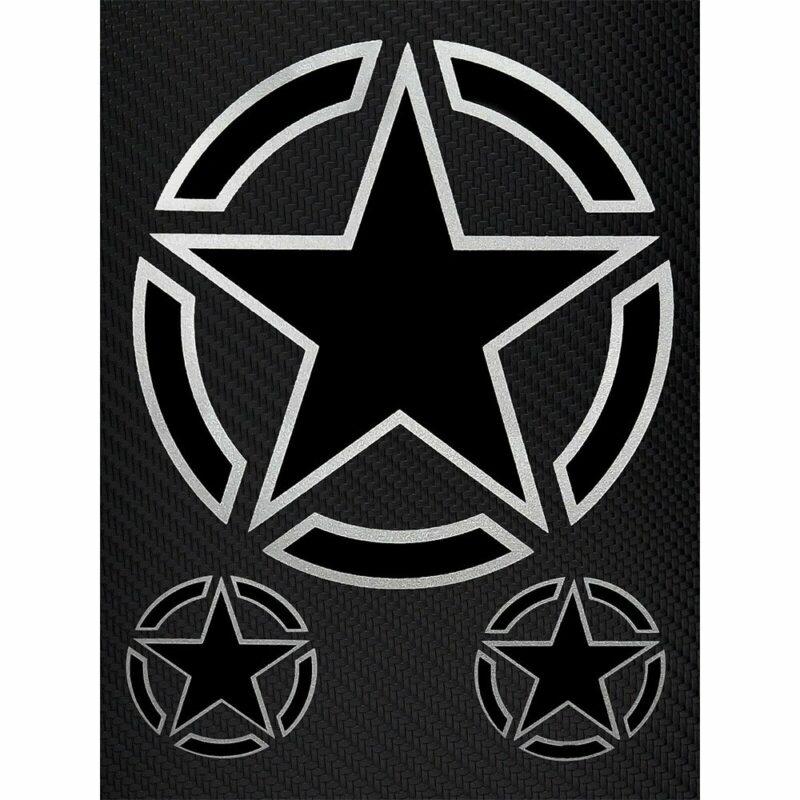 Adesivi Stickers Stella Militare 10 x 12 cm su sfondo nero