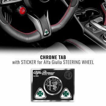 adesivi chrome tabs quadrifoglio verde per volante alfa giulia