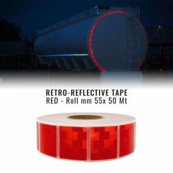Nastri Rifrangenti Omologati Ece Onu 104 per Telonati, Rosso, 55 mm x 50 mt