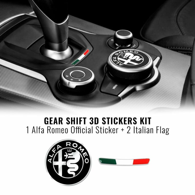 Kit Adesivo Alfa Romeo Logo 51 mm + Bandiera per Interno Giulia e Stelvio