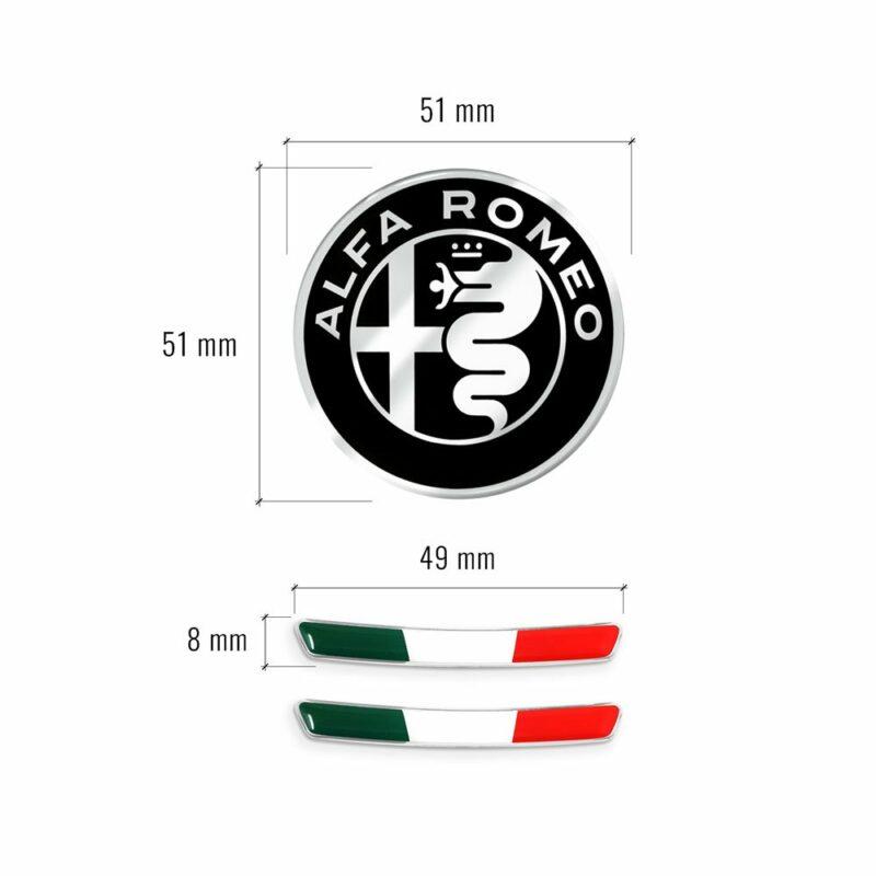 Kit Adesivo Alfa Romeo Logo 51 mm + Bandiera per Interno Giulia e Stelvio misure