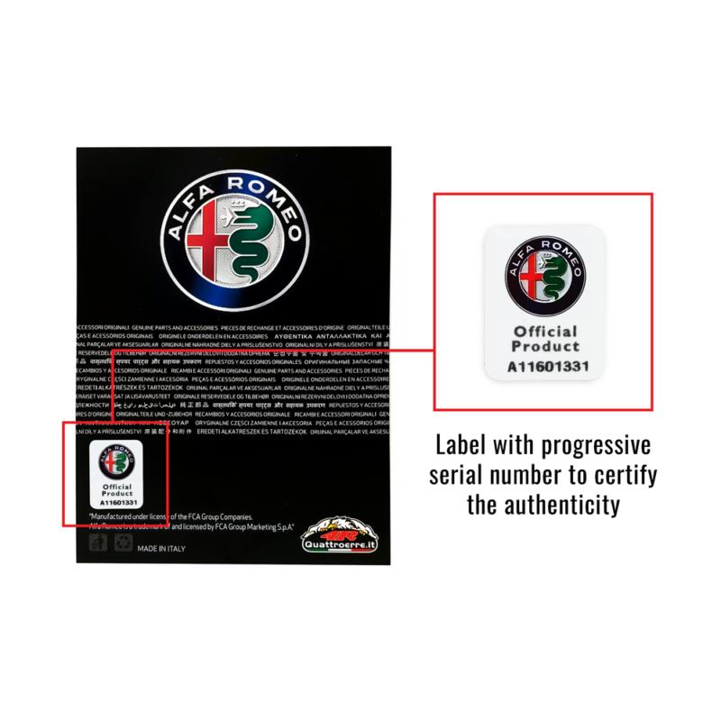 Kit Adesivo Alfa Romeo Logo 51 mm + Bandiera per Interno Giulia e Stelvio etichetta certificazione