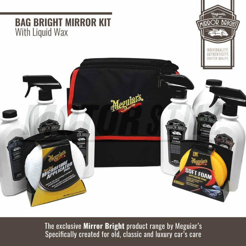 Meguiar's kit Mirror Bright con cera liquida, borsa e accessori