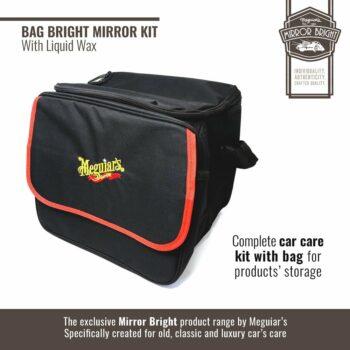 Meguiar's kit Mirror Bright con cera liquida, borsa e accessori, borsa
