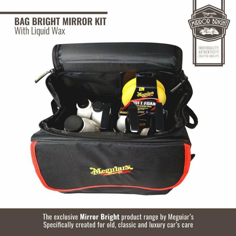 Meguiar's kit Mirror Bright con cera liquida, borsa e accessori, borsa e contenuto