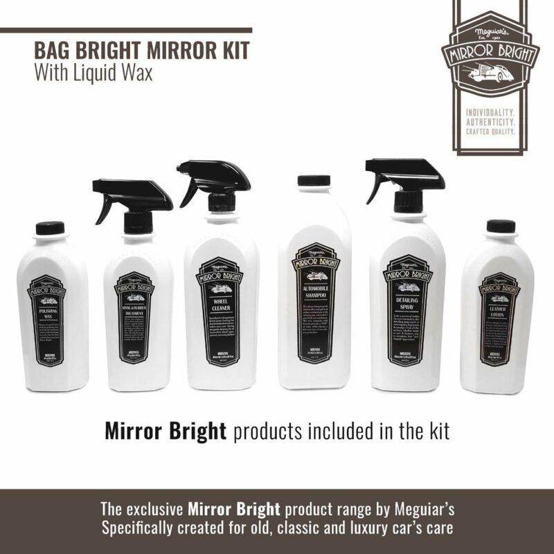 Meguiar's kit Mirror Bright con cera liquida, borsa e accessori, prodotti
