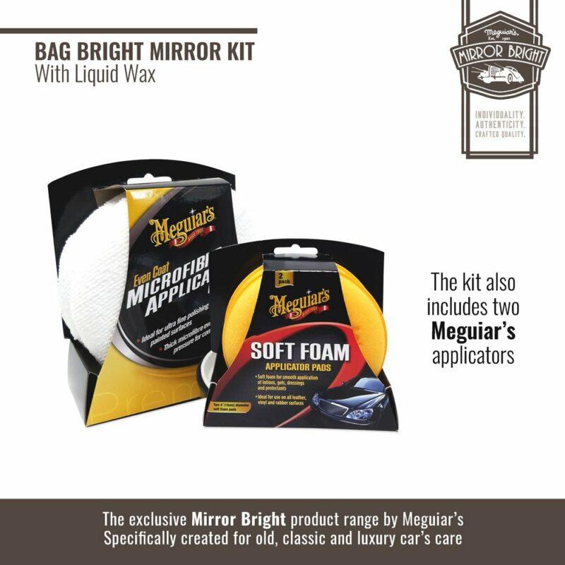 Meguiar's kit Mirror Bright con cera liquida, borsa e accessori, applicatori