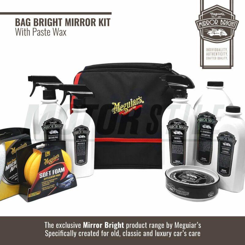 Meguiar's kit Mirror Bright con cera in pasta, borsa e accessori