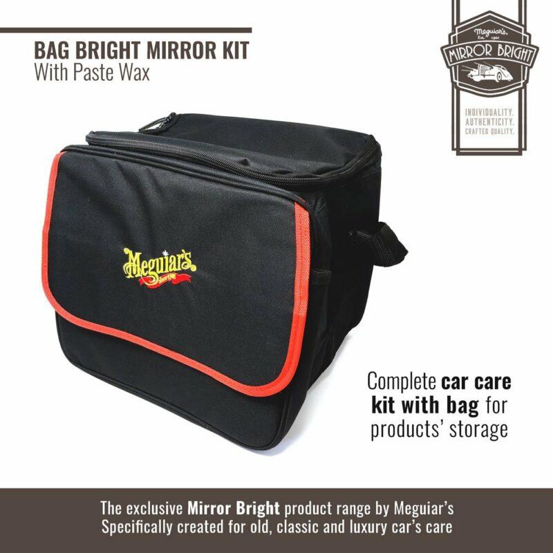 Meguiar's kit Mirror Bright con cera in pasta, borsa e accessori, borsa