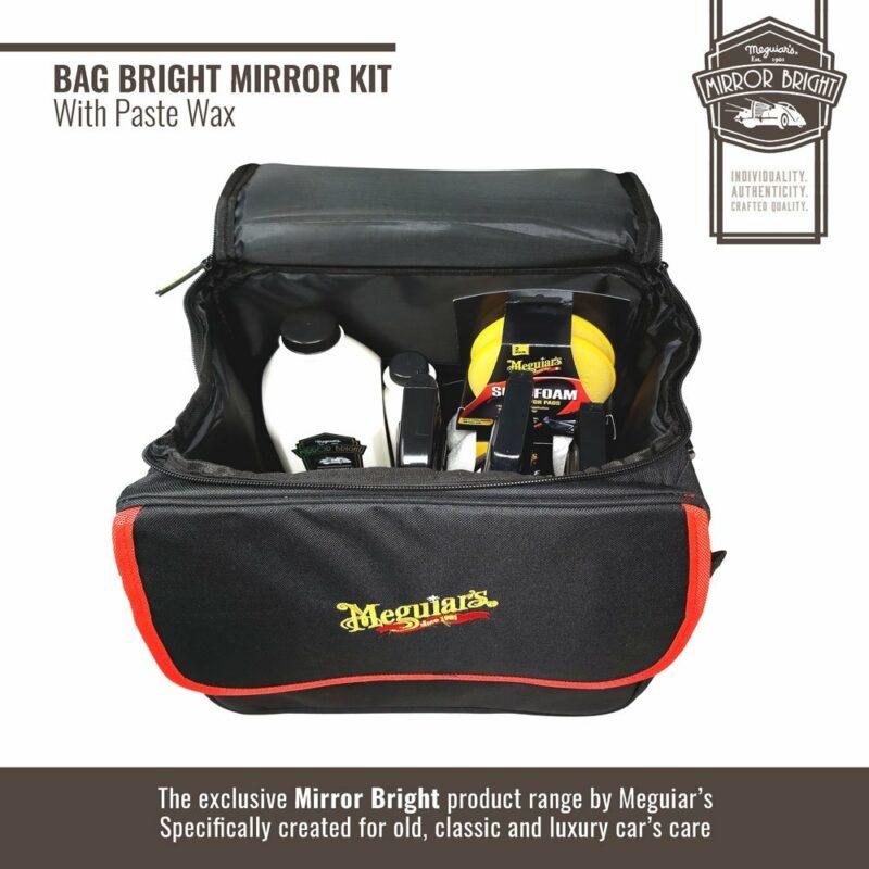 Meguiar's kit Mirror Bright con cera in pasta, borsa e accessori, borsa e contenuto