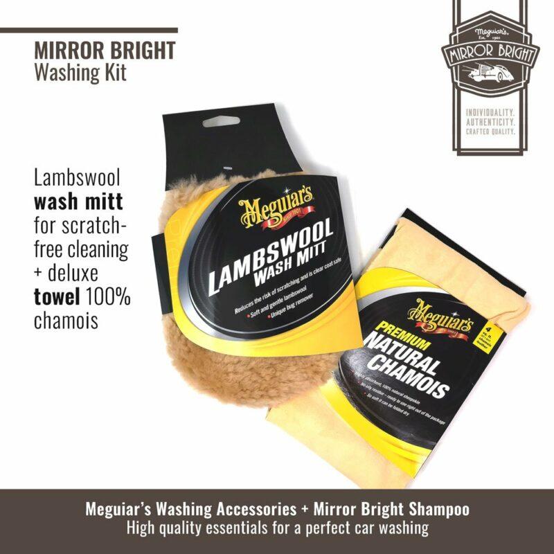 Meguiar's kit lavaggio Mirror Bright, guanto e panno