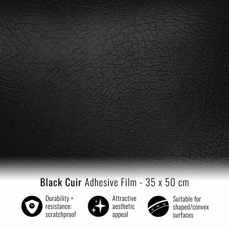 Pellicola adesiva per wrapping black cuir 35x50