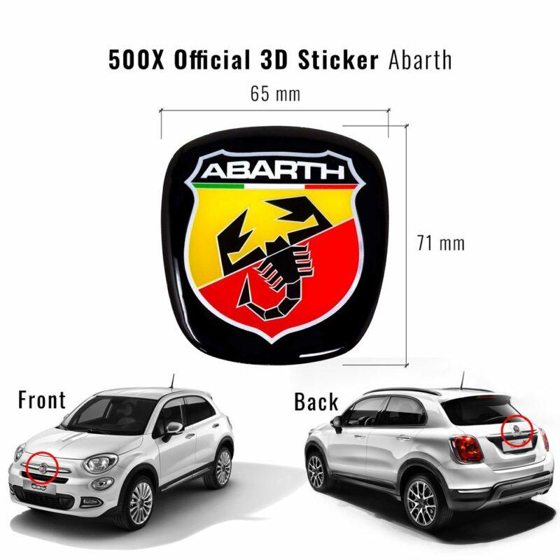 Adesivo Abarth 3D Ricambio Logo per Fiat 500X