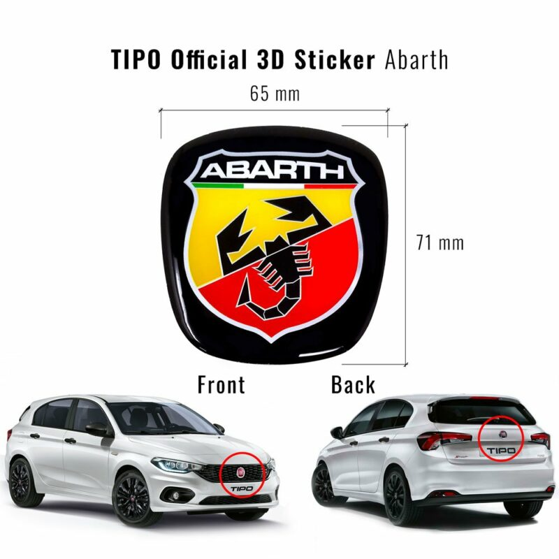 Adesivo Abarth 3D Ricambio Logo per Fiat Tipo
