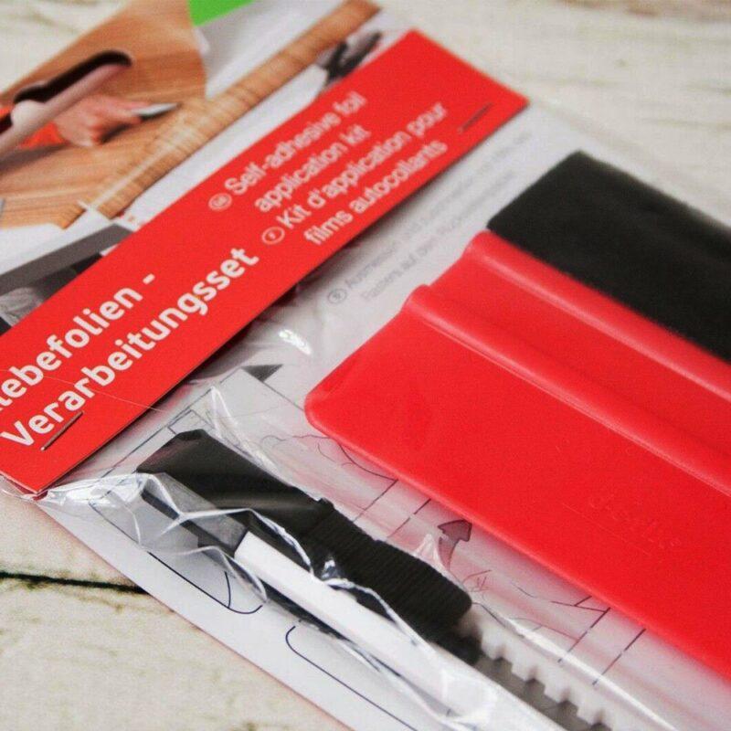 kit spatola e taglierino per applicazione pellicole adesive, confezione