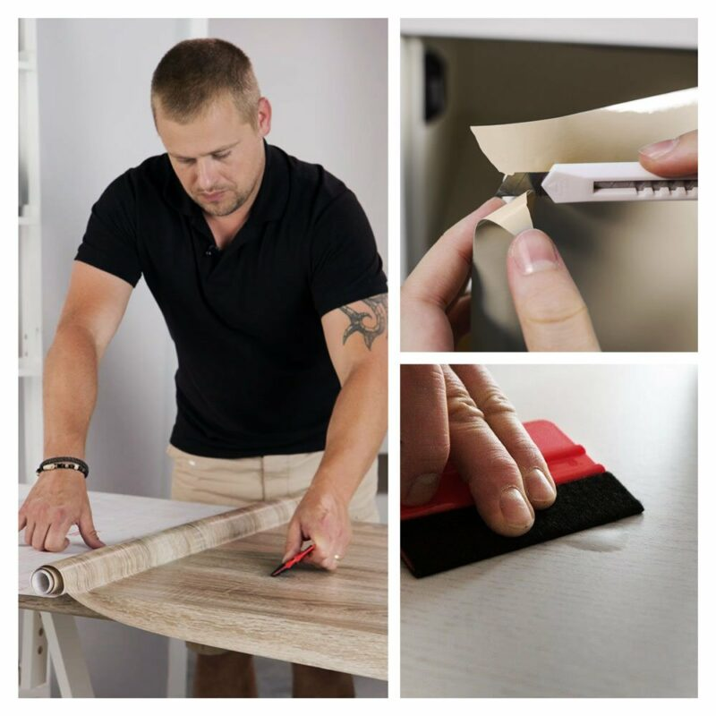 kit spatola e taglierino per applicazione pellicole adesive, esempi d'uso