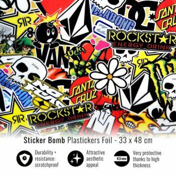 Pellicola adesiva per plastiche sticker bomb 33 x 48
