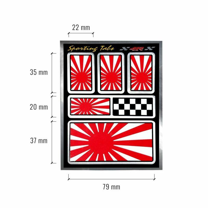 Set di adesivi bandiera Giappone racing per auto, dimensioni
