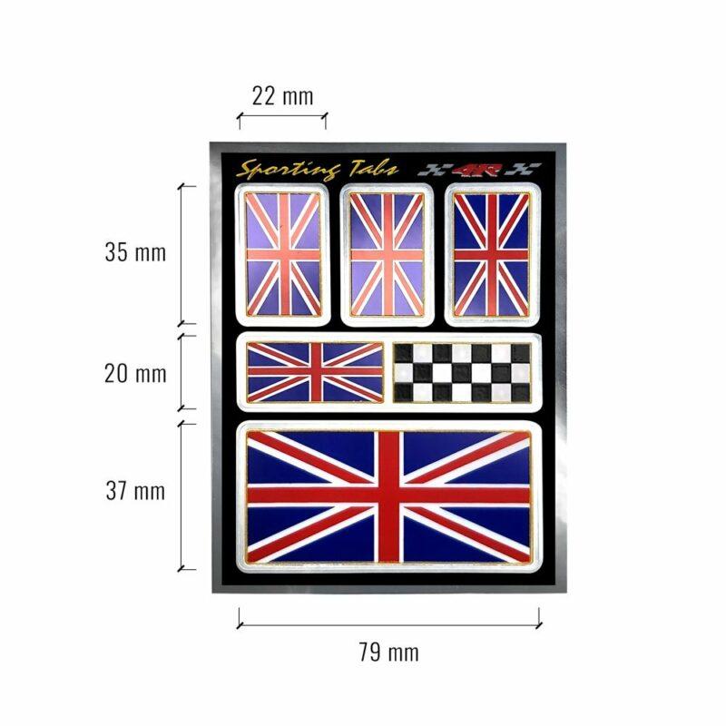Set di adesivi bandiera Inghilterra UK racing per auto, dimensioni