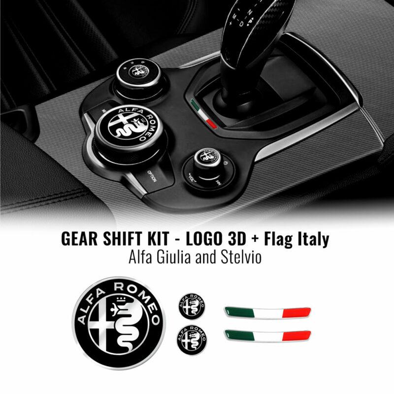 Kit Alfa Romeo loghi adesivi e bandierina per tunnel centrale