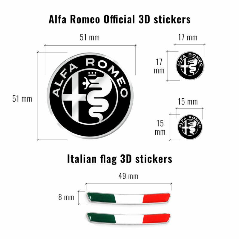 Kit Alfa Romeo loghi adesivi e bandierina per tunnel centrale, dimensioni