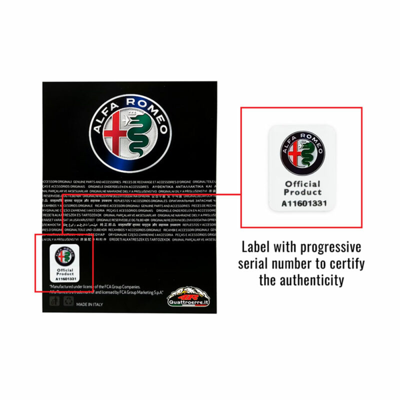 Kit Alfa Romeo loghi adesivi e bandierina per tunnel centrale, etichetta e numero di matricola