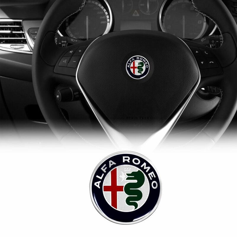 alfa romeo adesivo logo per volante, color