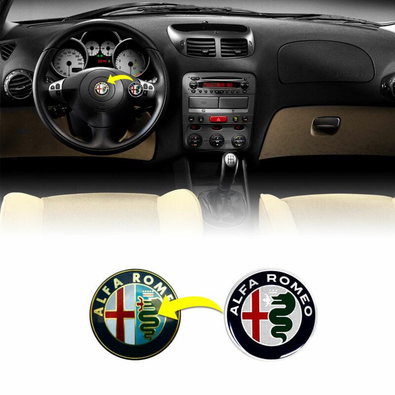 alfa romeo adesivo logo per volante, color, esempio d'uso alfa 147