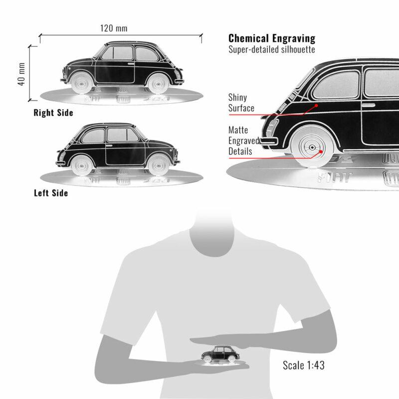 Modellino sagoma incisa in acciaio, Fiat 500 Vintage, dimensioni e dettagli
