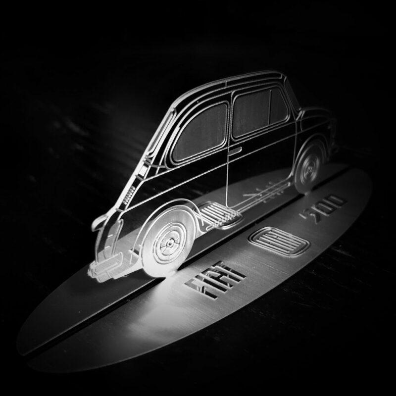 Modellino sagoma incisa in acciaio, Fiat 500 Vintage