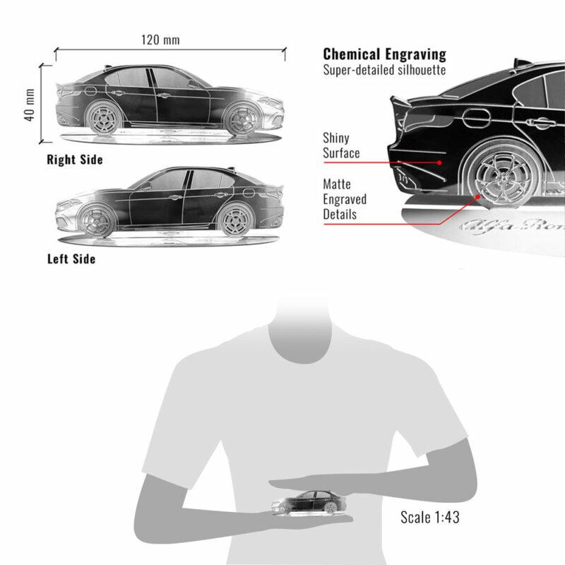 Modellino sagoma incisa in acciaio, Alfa Giulia, dimensioni e dettagli