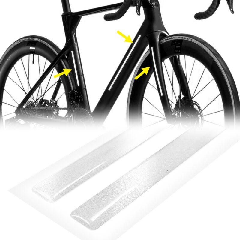 strisce adesive 3d rifrangenti per bicicletta, bianco