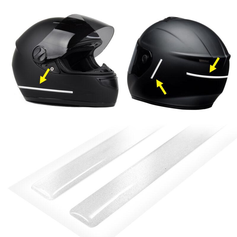 strisce adesive 3d rifrangenti per casco moto, bianco
