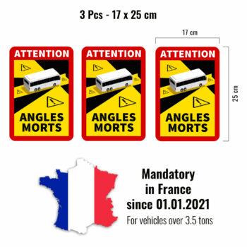 adesivi angoli morti per autobus francia, 3 pezzi, 17 x 25 cm
