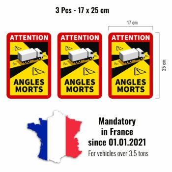 adesivi angoli morti per autocarri francia, 3 pezzi, 17 x 25 cm
